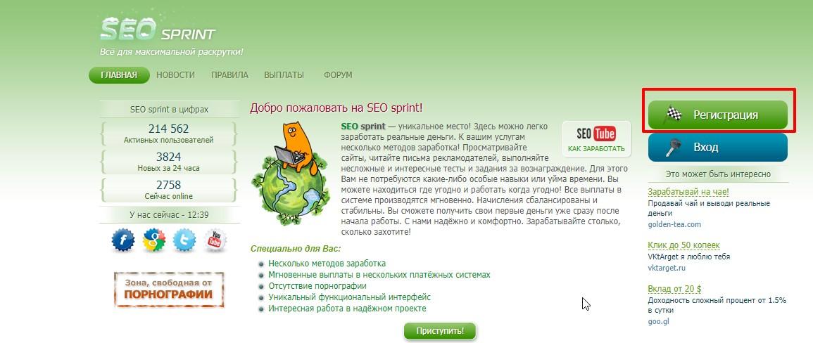 Регистрация в СеоСпринте