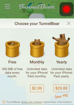 У TunnelBear есть ограничения использования