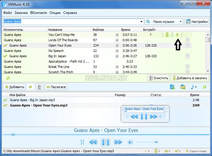 Окно программы VKmusic